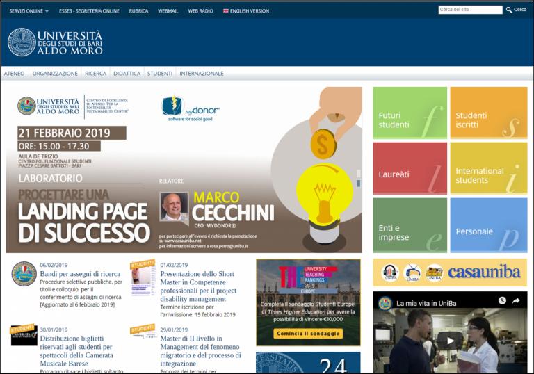 La Landing Page UX es materia para un workshop en la Universidad de Bari
